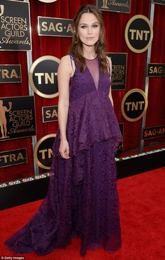 Stylish baby bump: Mother-to-be Keira Knightley chose another beautiful and unique Erdem gown for her appearance at the SAG Awards on Sunday