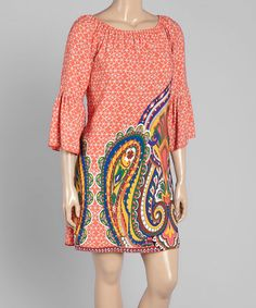 Another great find on #zulily! Coral Paisley Bell-Sleeve Shift Dress - Plus #zulilyfinds