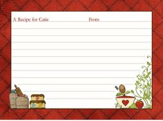 Classic Kitchen Shower Recipe Cards - Red Brown White