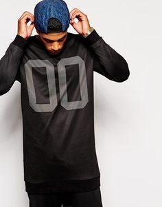 ASOS+Super+Longline+Sweatshirt+With+Number+Print+&+Mesh+Overlay