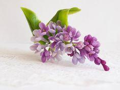 pinza de pelo lila, porcelana fría, pasador lila, arcilla polimérica, decoración con flores, flores joyas, flores de la arcilla