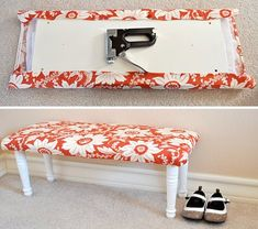 Easy DIY- a piece of wood, 4 legs (all of which are sold at home depot for around $5)- padding, and then staple pretty fabric. Awesome! - to do huge at the end of the bed