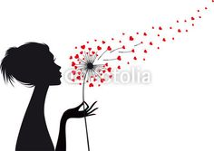 woman and dandelion with red hearts