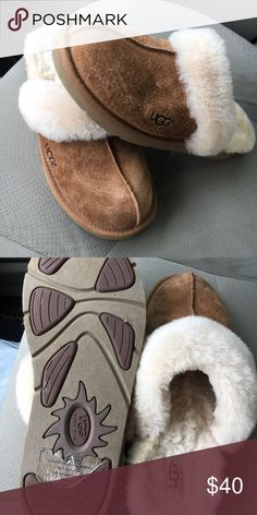 Ugg Croquette Slippers Worn once, EUC UGG Slippers! So soft and comfy! UGG Shoes Slippers