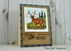 Stampin' Up Noble Deer Masculine Birthday Card with My Favorite Things Big Birthday Sentiments - Handmade Card