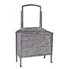 Completely refinished c. 1930's vintage industrial simmons bedroom dresser with original adjustable mirror. #simmons #metalfurniture #industrial
