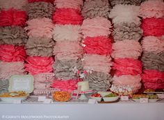 Wow! Look at this pom backdrop for a dessert table! #party #birthday