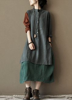 Asymmetric color linen dress loose cotton dress warm cotton coat. $56.80, via Etsy.