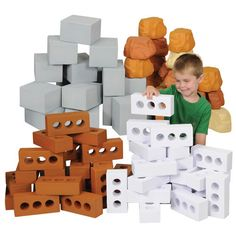 Add rocks, bricks, and blocks to your classroom environment and see what your children will build! https://goo.gl/cJlPmb #build #preschool