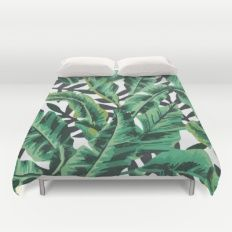 Duvet Cover featuring Tropical Glam Banana Leaf Print by Nikki