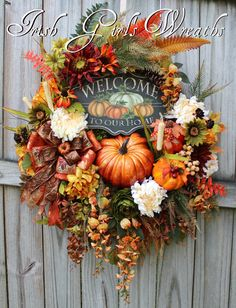 Welcome To Our Home Deluxe Fall Sunflower Wreath, XL Autumn Pumpkin Wreath, Fall…