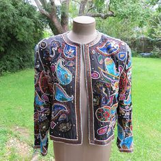 Gunit Silk Bead & Sequin Blazer/Jacket Paisley Multi Color Hip
