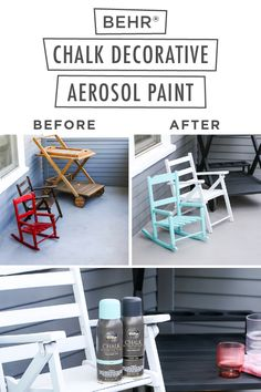 If your front porch is looking a little out of touch, give it the perfect pick-me-up with BEHR® Chalk Decorative Aerosol Paint. Available in 6 popular hues, these beautiful colors are easy to apply and no primer is needed. Plus, it offers great coverage over new or previously coated surfaces. Click below to learn more.