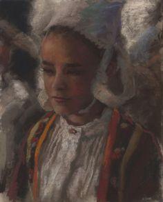 Original Pastel, Breton girl, by Jean-François Le Saint (140331-1)