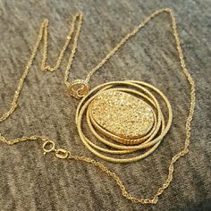 ☆firm price☆ 14K Gold and Druzy Necklace Authentic  gold Druzy Necklace.  Jewelers marks shown.  Of you have any questions or doubts please ask before purchasing.  I will take more pictures if necessary.  Do not use the offer button on this.  Buy or pass. Jewelry Necklaces