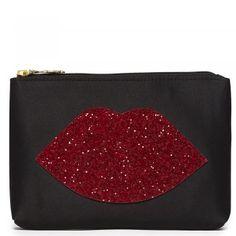 Lulu Guinness Red Glitter Lips Women's Top Zip Purse