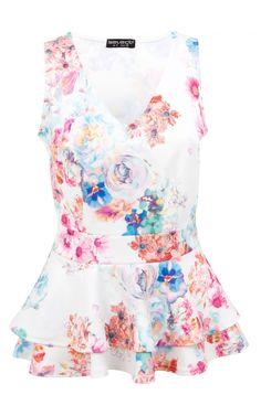 1b87efdd16ea34 Pink Photo Floral V Neck Peplum Top | Size 10 | Select Fashion Pink Photo,