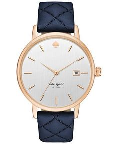 kate spade new york Women's Metro Grand Blue Leather Strap Watch 38mm KSW1160 - Watches - Jewelry & Watches - Macy's #watchesforwomen