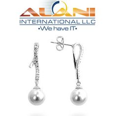 3b803047fdde9 White Gold Bonded Earrings with Milligrain Accents and a White Pearl CZ  Dangle in Silvertone. Only  12.99 + Free Shipping.