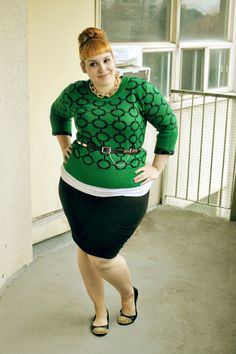 Smashing! That green sweater! Love this plus size curvy style | FLATS! Plus size models need to go on a rampage against hooker heels! Uncomfortable. Need I say more? #comfortisqueen - gypsy18