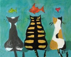Katze Kunst - drei Katzen mit Fisch - Tiger-Katze - Tabby - Kaliko Katze - Goldfisch - 8 x 10 Print