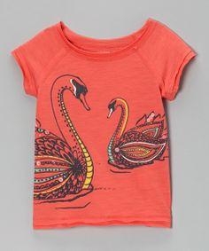 Coral Swan's Way Tee - Toddler & Girls
