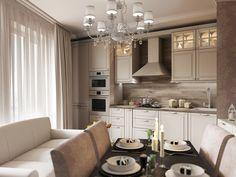 Кухня-гостиная. Коттедж в Вяртемягах, современная классика, 130 кв.м.
