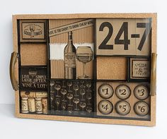 DIY Wine Tray - with Canvas Corp Vino and Ale Collection - add papers, corks and sayings, cover with glass and add handles - perfect for the bar or wine lover. Wine And Beer, Beer Tasting, Cheese Trays, Vintage Artwork, Photo Displays, Creative Studio, Mini Books, Shadow Box, Wine Lover