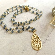Iolite Beaded Rosary Necklace with Art Deco Pendant by 137point5