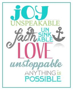 JOY UNSPEAKABLE.......