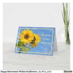 Happy Retirement Wishes Sunflowers Elegant Card #personalizedretirementgifts #personalizedretirementcards #happyretirement #happyretirementgifts #retirement #sunflowers 1st Wedding Anniversary Wishes, Happy Anniversary Cards, Anniversary Flowers, Happy Retirement Wishes, Personalized Retirement Gifts, Sunflower Cards, Congratulations Card, Custom Greeting Cards, Holiday Cards