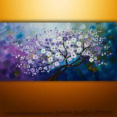 Original Modern Landscape Asian Tree Blossom Textured Painting Art by Gabriela 48x24 on Etsy, $199.00