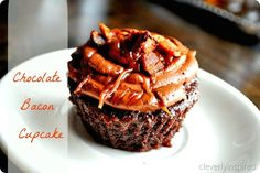 Chocolate cupcakes with bacon...I see these in a gymnastics fundraiser in the near future...