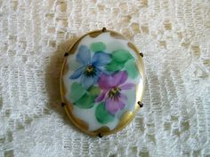 Antique American Painted Porcelain Floral Pansies  Brooch Circa 1900 - 1917 by BlackRain4
