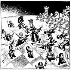 """Шахматы Восточного фронта, 1944 г. Британская карикатура времён Второй мировой войны """"Чёрные начинают и проигрывают""""."""