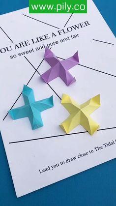 origami Origami Toys, Instruções Origami, Paper Crafts Origami, Diy Paper, Origami Videos, Paper Pin, Origami Flowers, Origami Animals, Oragami
