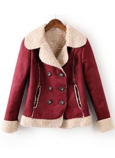 Wine Red Lapel Long Sleeve Buttons Coat pictures