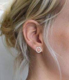 Dimple-hammered Silver Circle Studs - Open Circle Earrings - UK Handmade --- Dimple Hammered Circle Earrings --- The simple shape and clean lines make these earrings perfect for everyday wear while the dimple-hammered finish creates subtle facets that reflect the light and draw the eye!