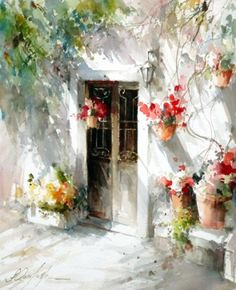 Nice use of shadows and plants to add life to an otherwise plain wall. (Fabio Cembranelli watercolor)