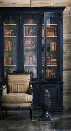Ralph Lauren Home Collection A/W tall glass doored book case over solid ba. Ralph Lauren Home Collection A/W tall glass doored book case over solid base, embellishment done with a light touch and distressing Source by sdebehnke Painted Furniture, Furniture Design, Furniture Storage, Distressed Furniture, Furniture Ideas, Home Design, Interior Design, Design Ideas, Design Interiors