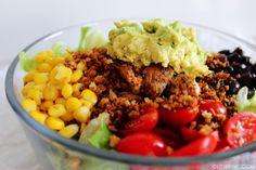 Southwest Salad With Spicy Chicken and Low-Fat BBQ Ranch Greek Yogurt Dressing {RECIPE} - Glitter, Inc.