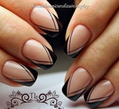 Having short nails is extremely practical. The problem is so many nail art and manicure designs that you'll find online Classy Nails, Stylish Nails, Cute Nails, Pretty Nails, French Tip Nail Designs, French Tip Nails, Black French Nails, French Pedicure, Manicure And Pedicure