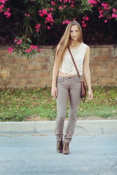 Love the lace top with the nude pants! Subtle but gorgeous!