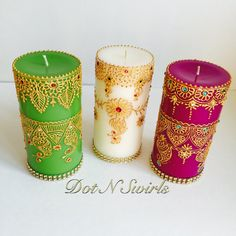 Pink color scented pillardesign with henna by dotnswirls on Etsy
