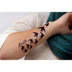 "Demi Lovato Inspired ""Faith and Birds"" Tattoo ($4) ❤ liked on Polyvore featuring accessories, body art and tattoos"