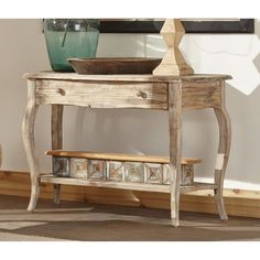 Alaterre Rustic Reclaimed Wood Sofa/ Console Table (Driftwood), Brown