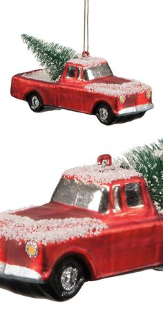 Ever cut down your own Christmas tree? It's quite the experience, and one you can remember forever with this charming Red Truck Glass Ornament. Featuring an old-fashioned red pickup, this ornament depi...  Find the Red Truck Glass Ornament, as seen in the A Rustic Home for the Holidays Collection at http://dotandbo.com/collections/styleyourseason-a-rustic-home-for-the-holidays?utm_source=pinterest&utm_medium=organic&db_sku=115453