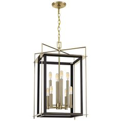 A two-toned design combines with clean, angular lines in stylish this eight-light foyer pendant from Quoizel. Style # at Lamps Plus.
