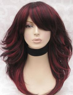 Dark Hair with Red Highlights: Color Ideas
