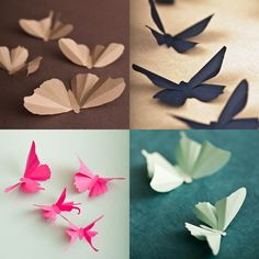 "Paper Butterflies by Etsy Seller ""hipandclavicle""… Origami Paper, Diy Paper, Paper Crafting, Paper Art, Paper Lamps, Fun Crafts, Diy And Crafts, Crafts For Kids, Arts And Crafts"